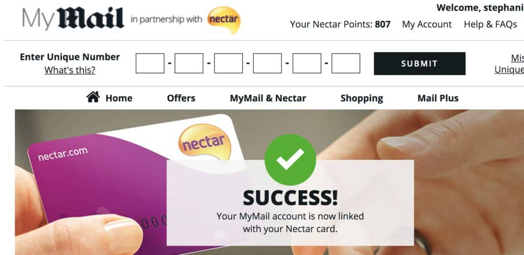 mail rewards club free nectar points