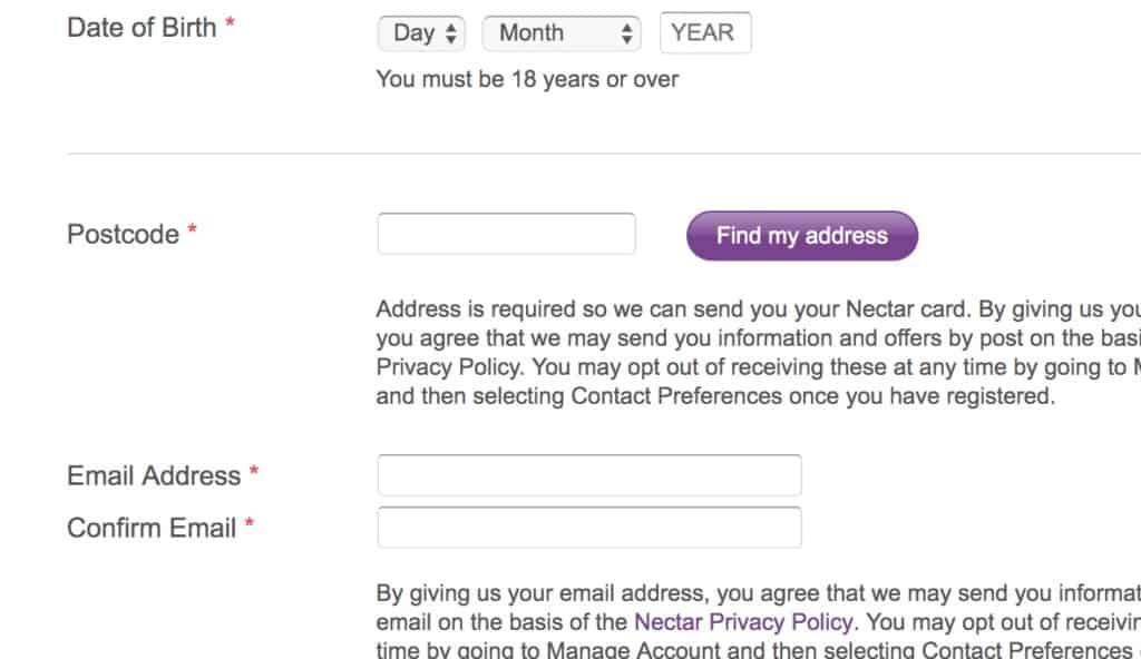Nectar card sign up
