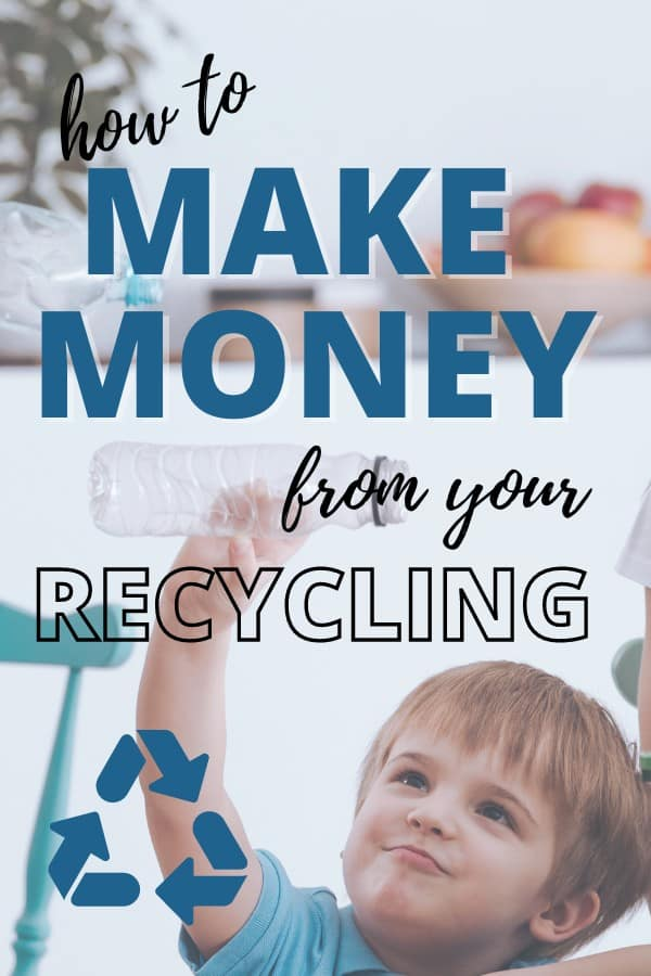 making money from your recycling image, boy holding an empty plastic bottle