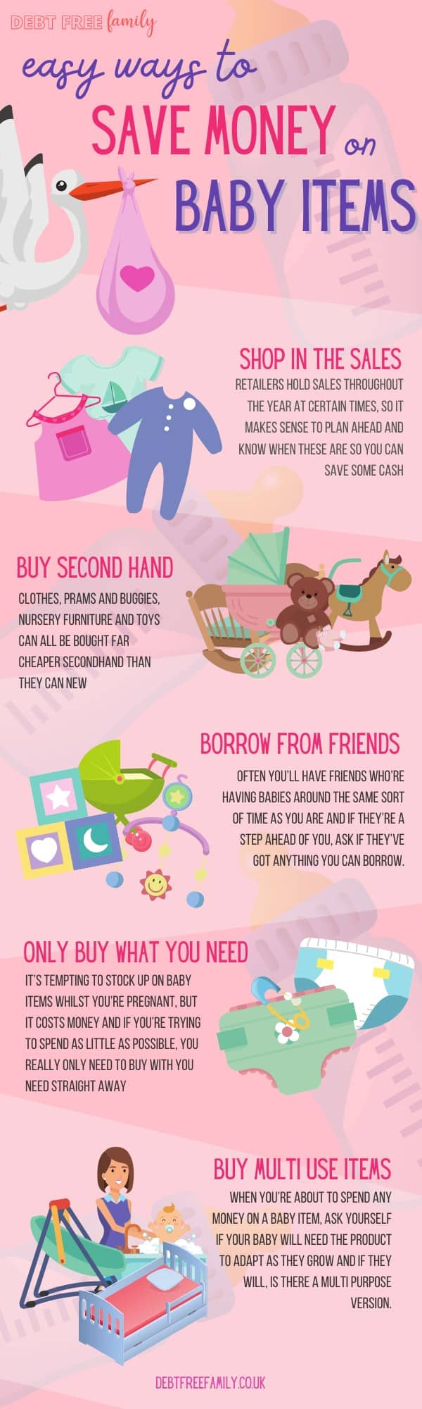 Baby items can be expensive, so SAVE MONEY where you can by using these 5 easy steps and save money on baby items. There's some things you should never buy secondhand but many baby items can be bought preloved, such as cribs, pushchairs and baby clothes. Use store sales ro make saving, borrow from friends and only ever buy what you need right now!