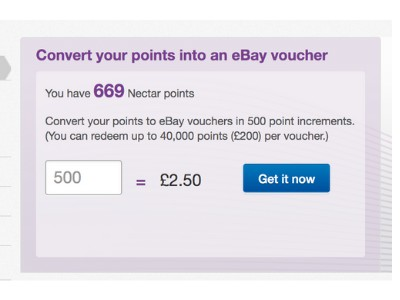 picture of converting nectar points to eBay vouchers
