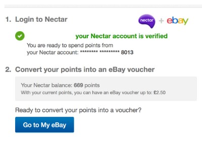 instructions for converting nectar points to eBay vouchers